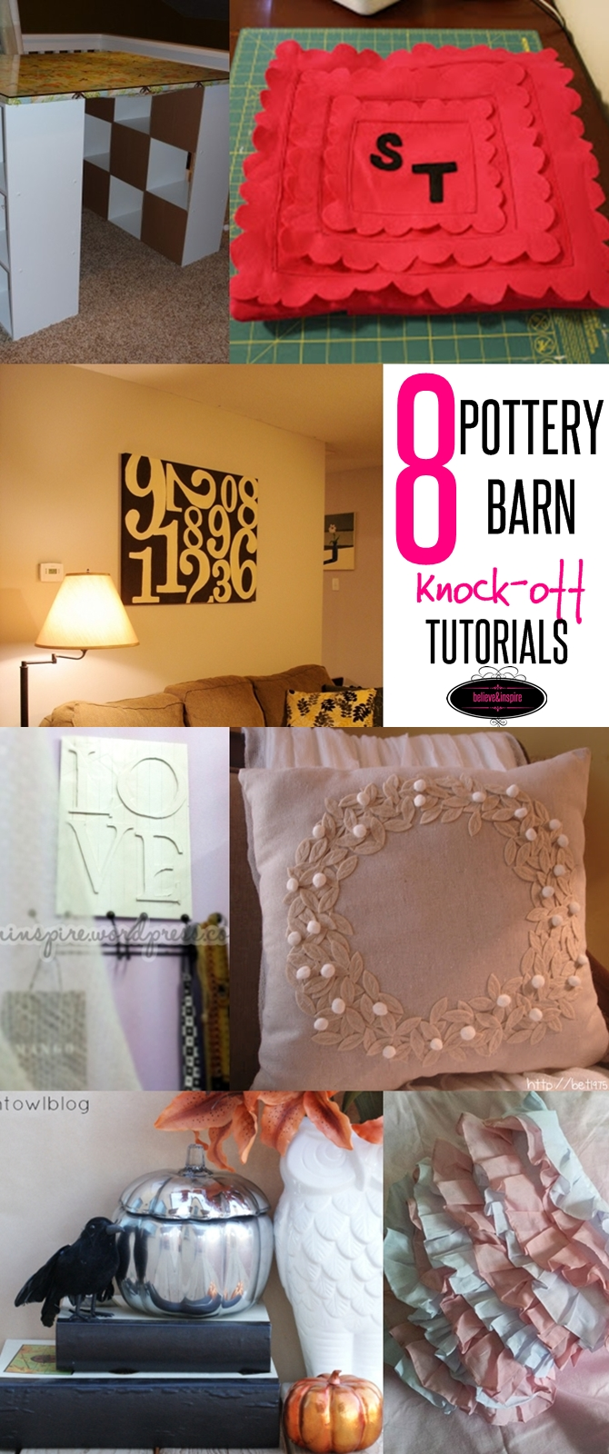 8 POTTERY BARN KNOCK-OFF TUTORIALS ON sewsomestuff.com. Looking for knock off decor ideas to jazz up your home? Check out this list of EIGHT pottery barn knock-off ideas to decorate your home one a budget. Read now!
