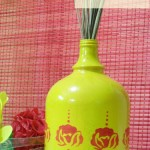 Stenciled Spray Painted Bottles-Tutorial