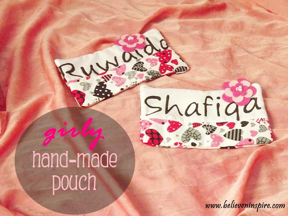 girly handmade pouch