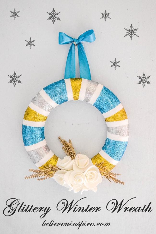 DIY - Glittery winter wreath