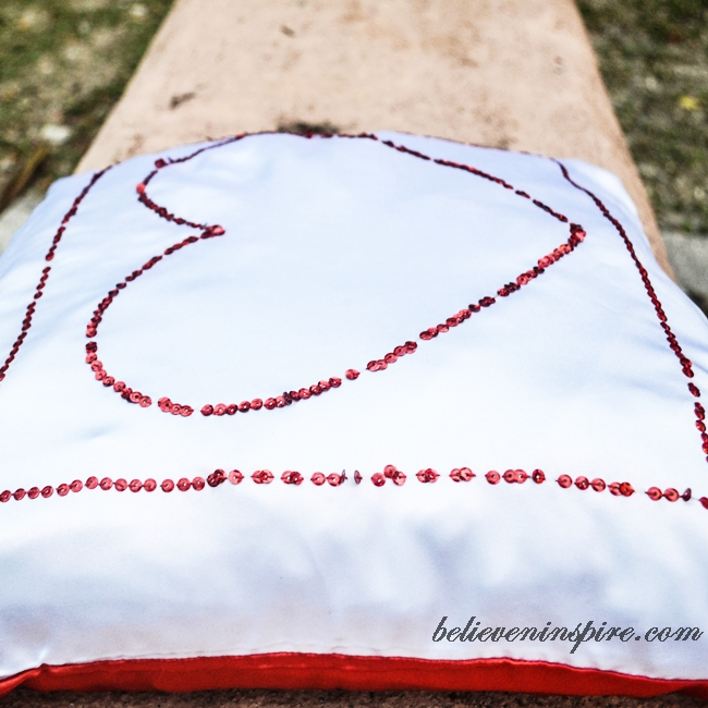 SequinedSequined Silky Heart Pillow Tutorial