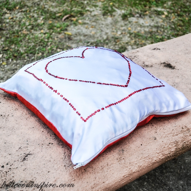 Sequined Silky Heart Pillow Tutorial