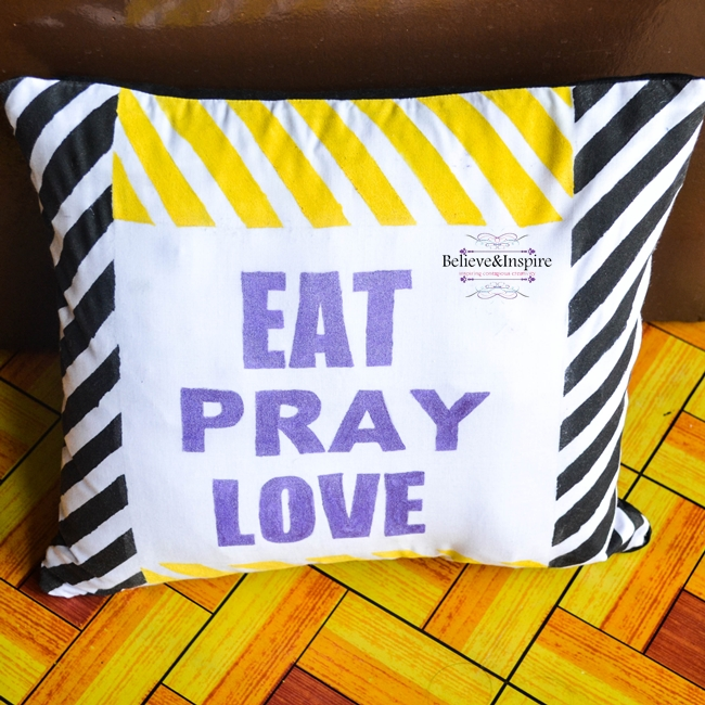 Eat, Pray, Love Striped Pillow Cover Tutorial