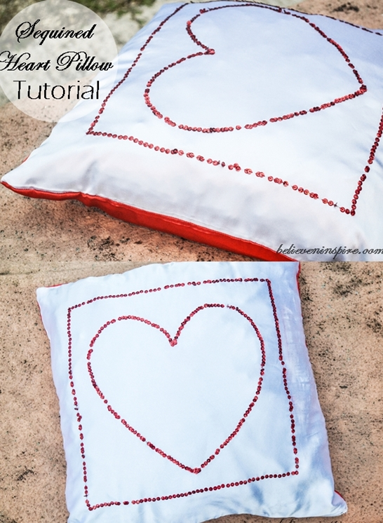 Sequined Silky Heart Pillow Tutorial (Decorative Pillows)