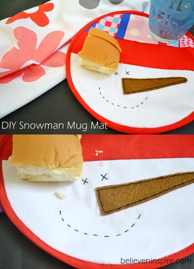 Snowman Mug Mat Sewing Tutorial on believeninspire.com