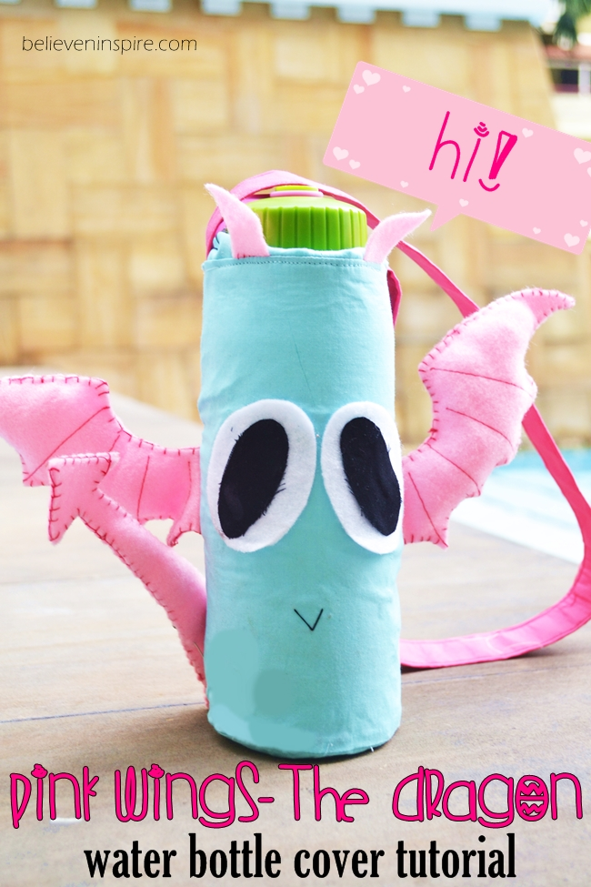 Pink Wings - The Dragon Bottle Cover (Free Kids Sewing Patterns) on believeninspire.com