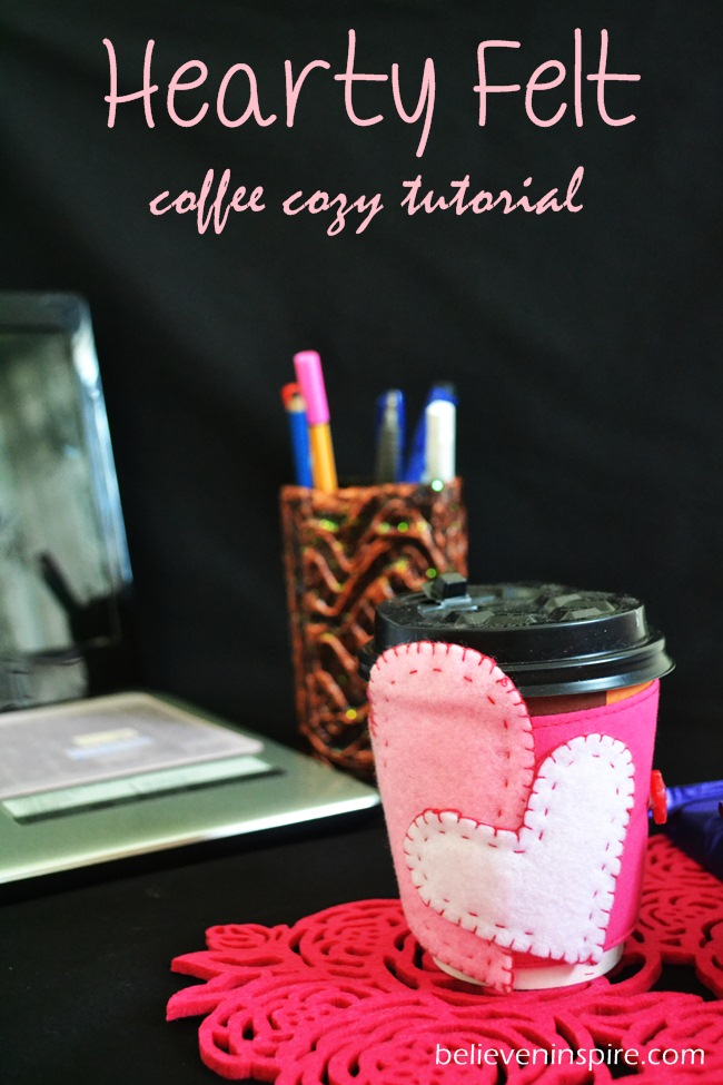 Hearty Felt Custom Coffee Mugs' Cozy Tutorial with FREE Pattern on believeninspire.com