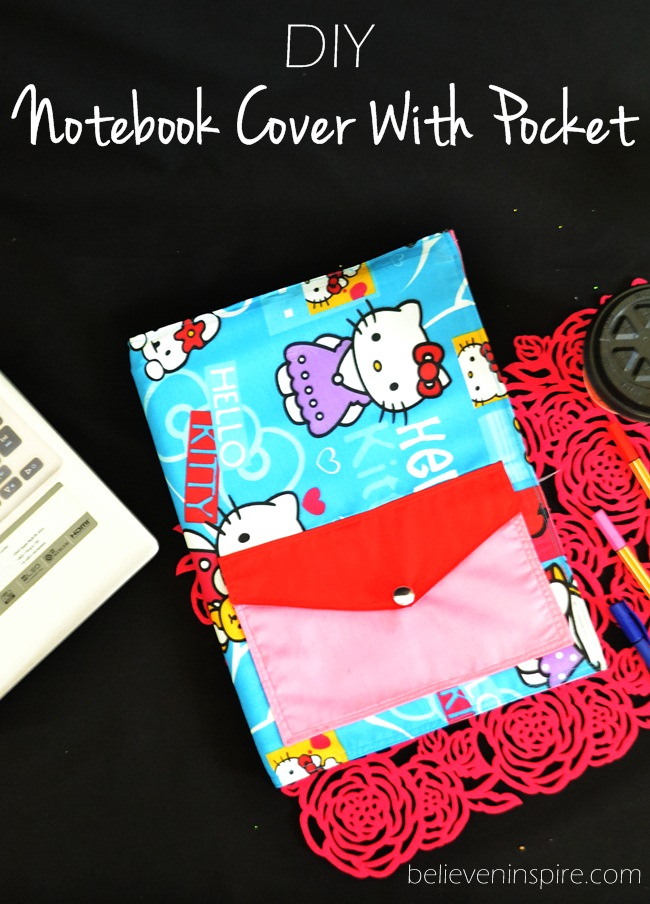 Re-usable AND Washable Custom Notebooks Cover Sewing Tutorial with pockets on sewsomestuff.com