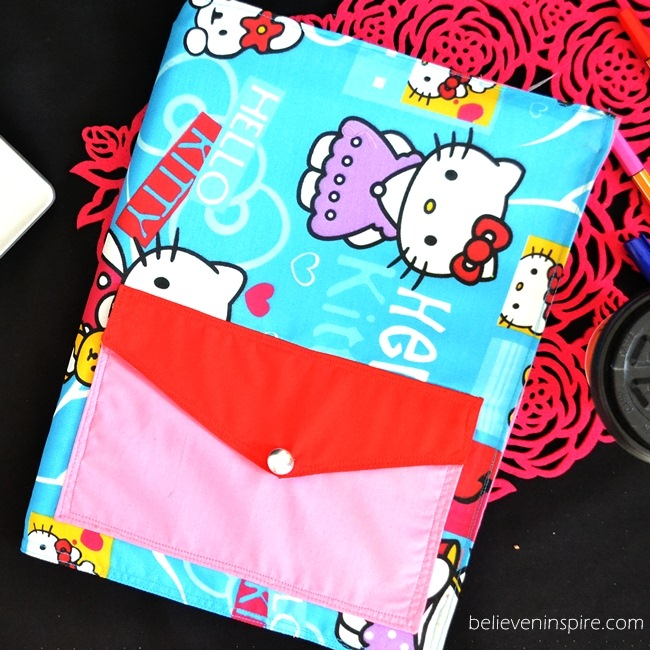 Re-usable AND Washable Custom Notebooks Cover Sewing Tutorial with pockets on believeninspire.com