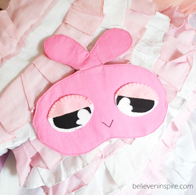 Miss Sleepy Bunny Sleeping Eye Mask Tutorial with FREE Template on believeninspire.com