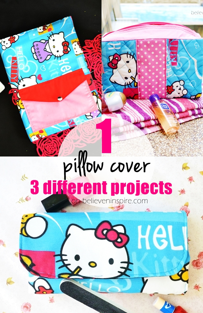 1 Pillow Cover 3 Different Projects (Things to Sew from Pillowcases) on believeninspire.com