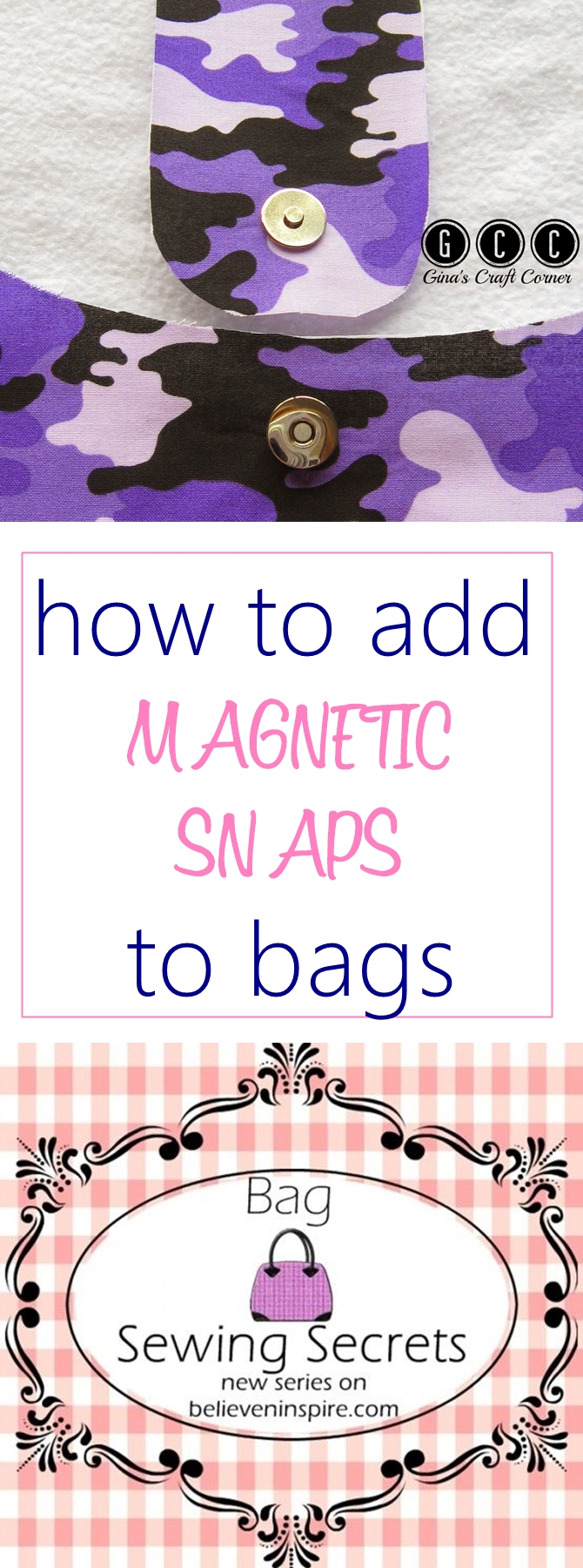 How to add magnetic snaps to bags BAG SEWING SECRETS on sewsomestuff.com. Are you new to sewing bags and are looking for a DETAILED step-by-step tutorial on how to add magnetic snaps to bags? Check out this post full of detailed colorful pictures to guide you on how to magnetic snaps to bags, plus links to several other bag making techniques. Check it out NOW!