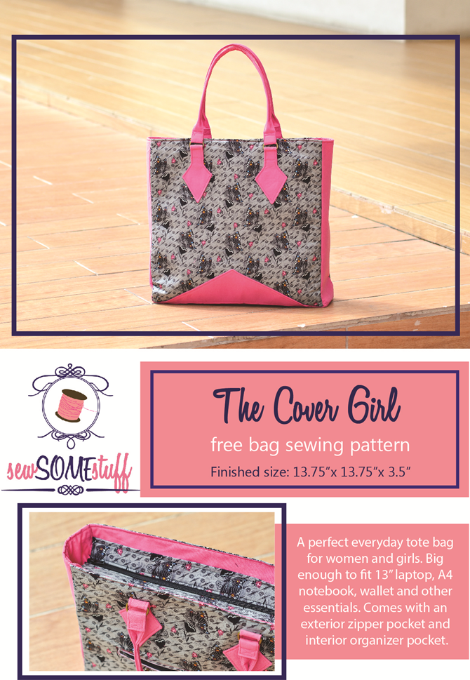The Cover Girl Bag FREE sewing pattern for a large size tote bag. Great gift idea!