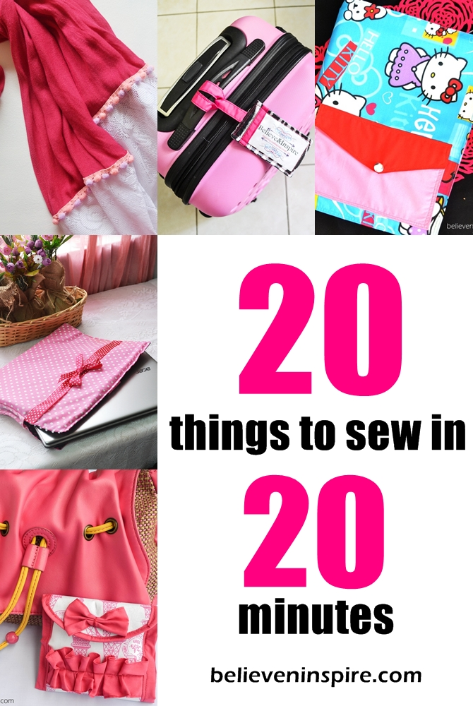 20 super cute 20 minutes sewing projects for Diy crafts for beginners