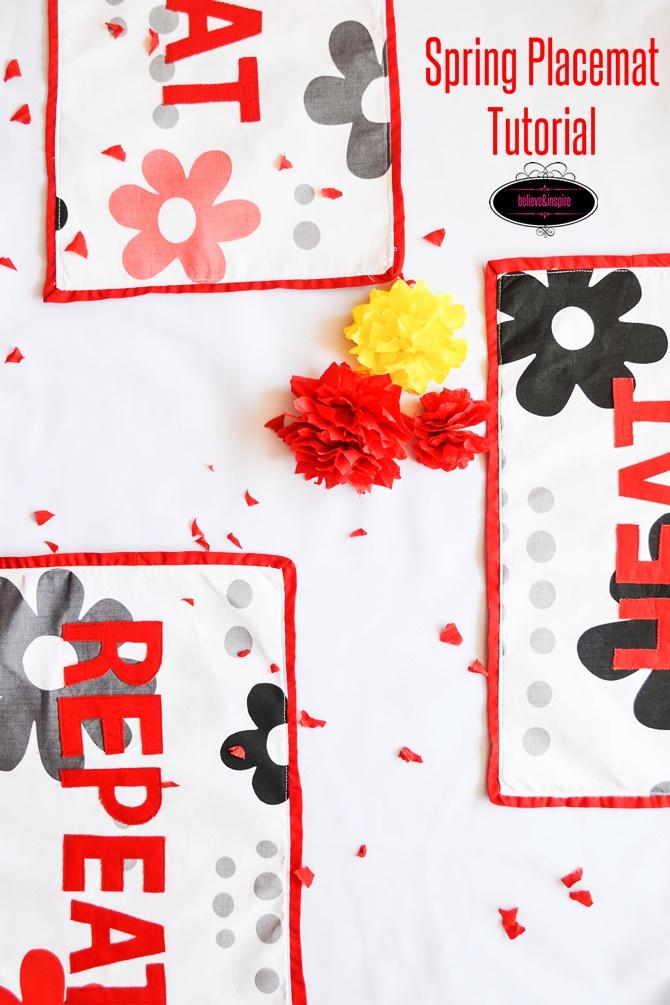 Spring Applique Placemat Tutorial (Table Linens) on believeninspire.com