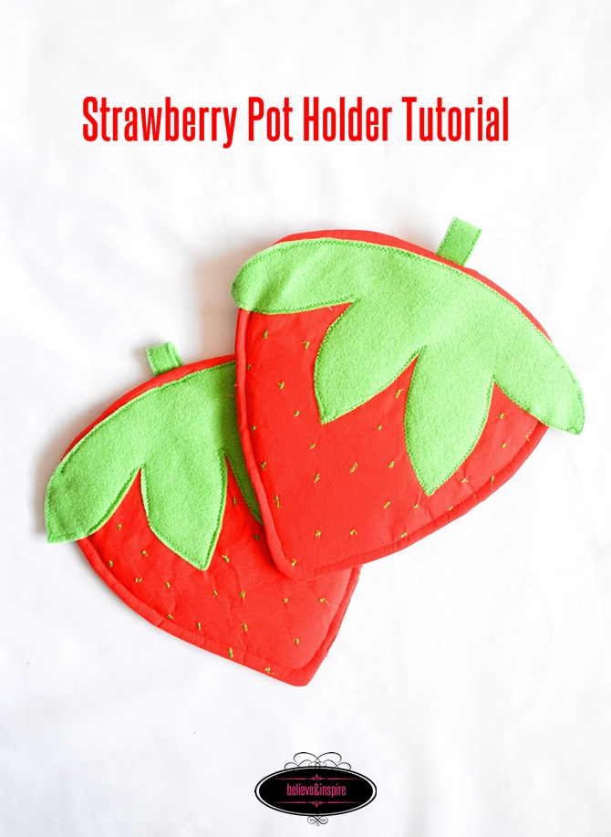 How to Sew Strawberry Pot Holders on believeninspire.com