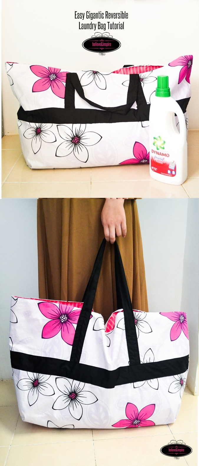 Easy Gigantic Reversible Laundry Bag Tutorial on believeninspire.com
