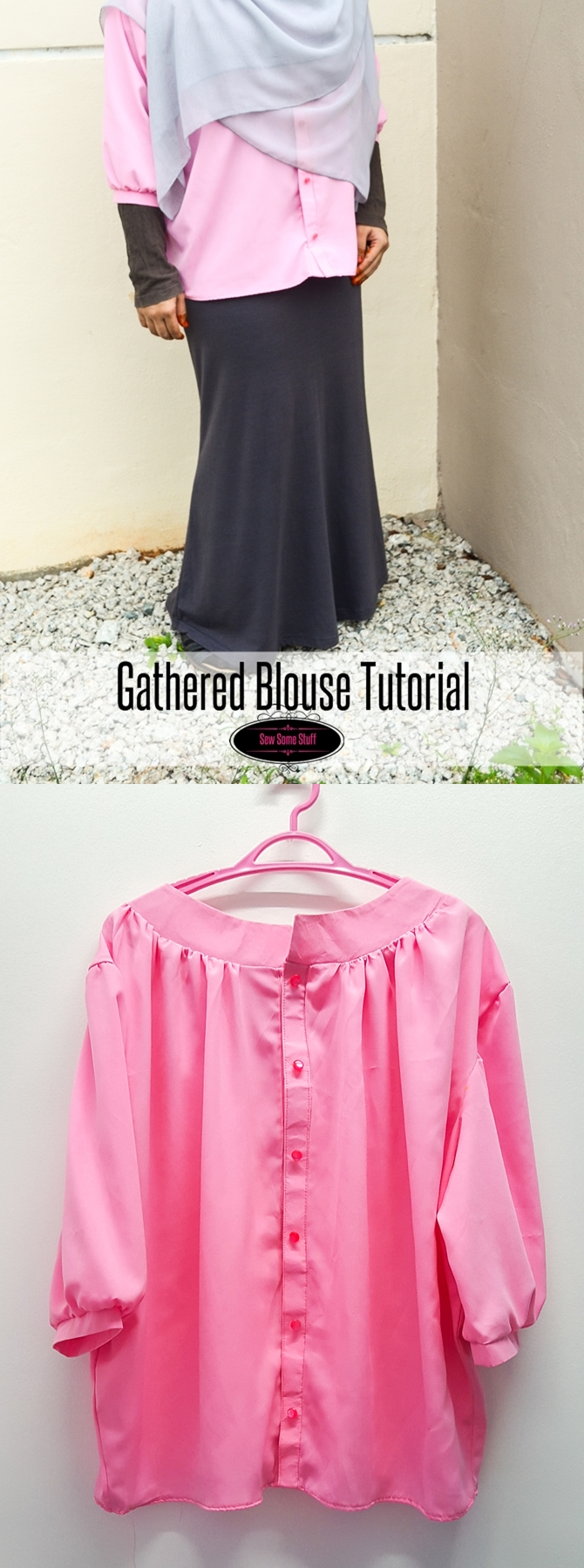 Plus size gathered blouse sewing tutorial on sewsomestuff.com