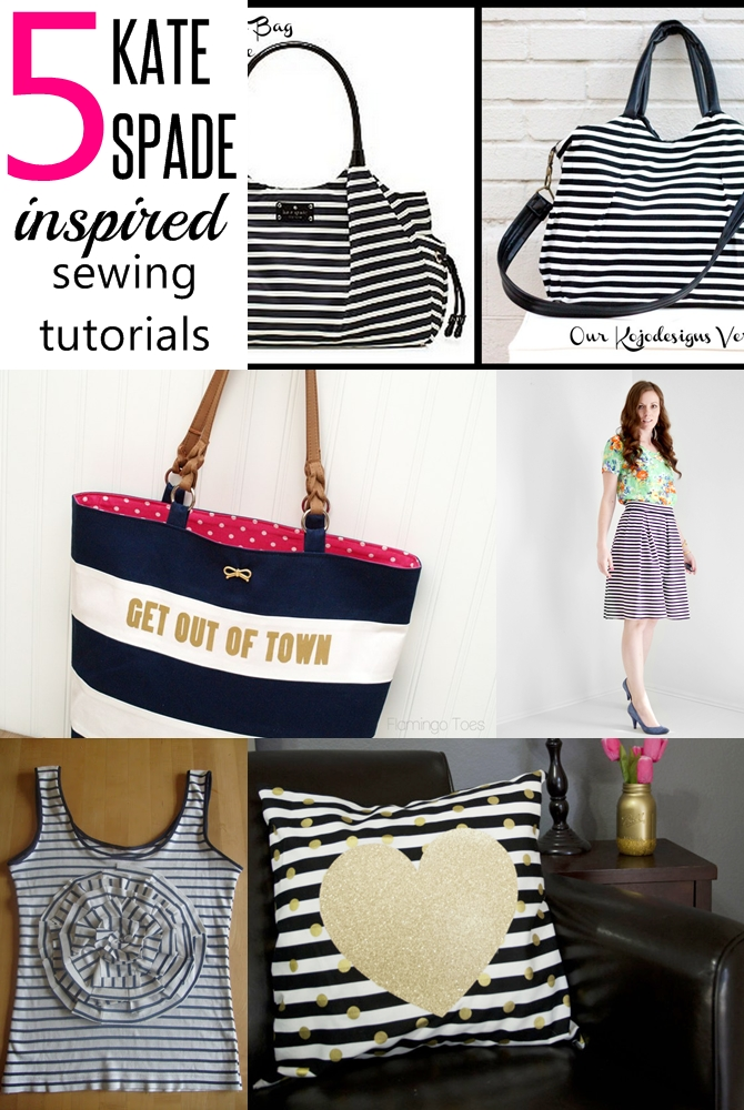 5 kate spade inspired sewing tutorials on sewsomestuff.com Are you a crazy fan of Kate Spade? Want to Kate Spade inspired sewing projects? THIS post is JUST FOR YOU! There are bags, wearable AND pillows. Check out these 5 amazing knock-off tutorials NOW and make one for yourself!