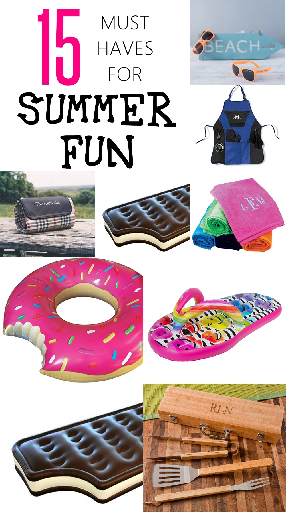 15 must haves for summer fun! Looking to make your summer truly FUN and memorable? Check out these AWESOME summer must haves! Giant doughnut floats and much more. CHECK OUT NOW!