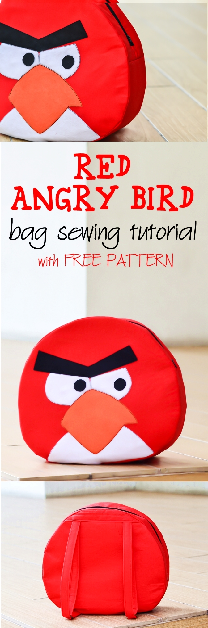 How to make Angry Birds Bag with FREE PATTERN on sewsomestuff.com. Learn to make a super cute Angry bird bag for your little crazy angry bird fans. This tutorial also has A FREE SEWING PATTERN. Check it out now!