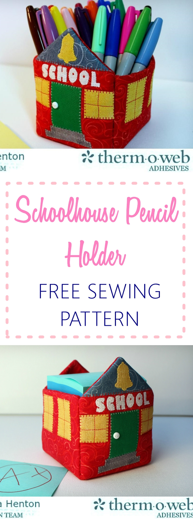 Schoolhouse pencil holder free sewing pattern - Makes a perfect gift for teachers