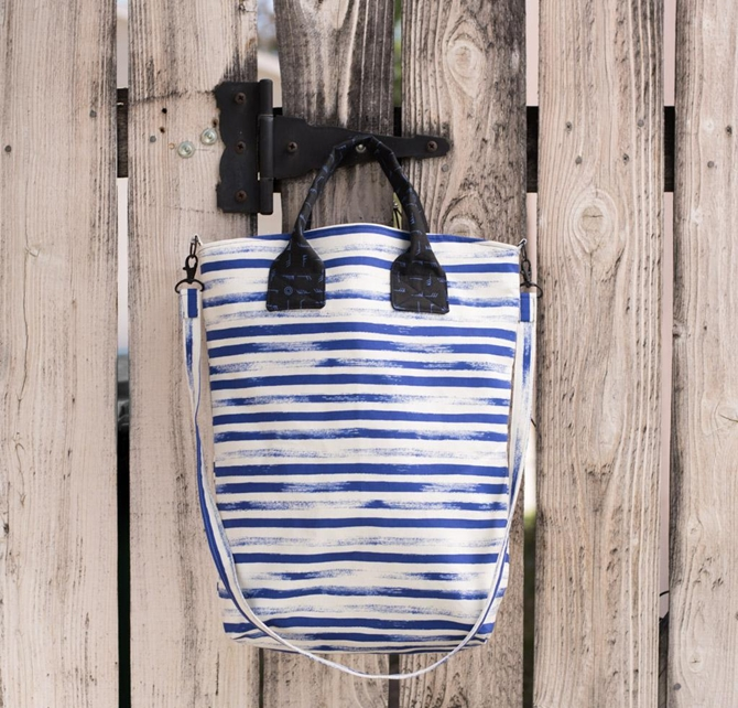 Green Bee On Holiday Bag Kit Pattern Cobalt Stripes