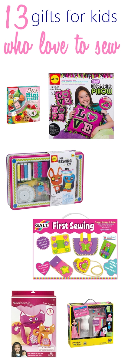 Gifts for kids who love to sew. Great idea to encourage kids to learn sewing with this sewing kit. Sewing machine for kids