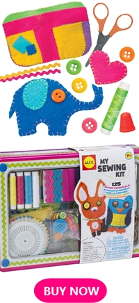 Gifts for kids who love to sew. Perfect idea to encourage kids to learn sewing with this sewing kit. Awesome gift for 7 year old kids and above