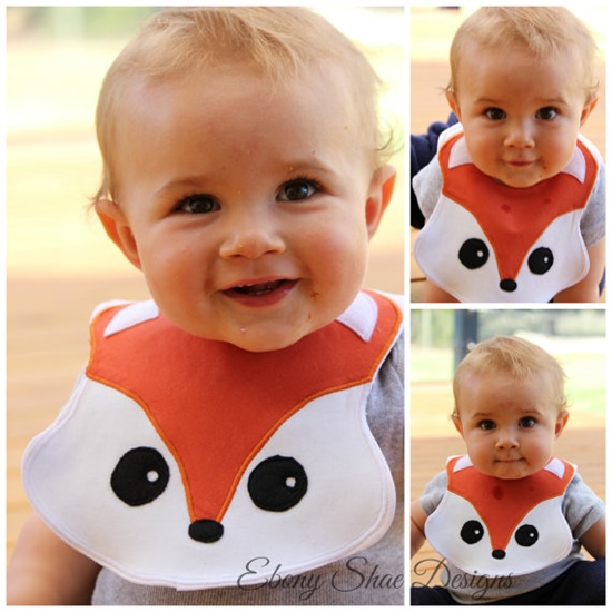 Fox Baby Bib, Sewing Pattern, Easy. PDF Pattern. Instant Download.