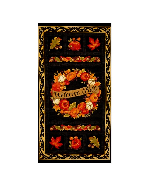 This fabric panel would make a PERFECT fall table runner. PS. This list has some AMAZING fall quilting fabric collection. A MUST SEE! Also contains some suggestions for fall tablecloths fabric.