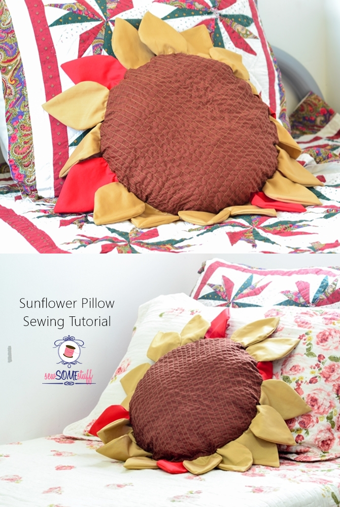 Sunflower pillow sewing tutorial in fall colors. Comes with a free sewing pattern for the petals and the pillow. GET IT NOW!