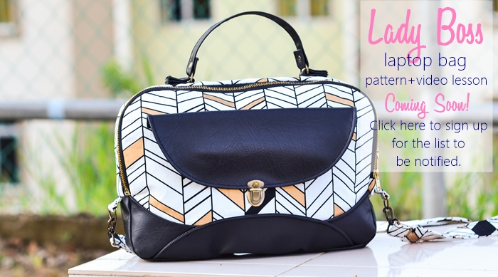 Lady Boss laptop bag pattern plus video lesson coming out SOON. Sign up for the list to stay updated.