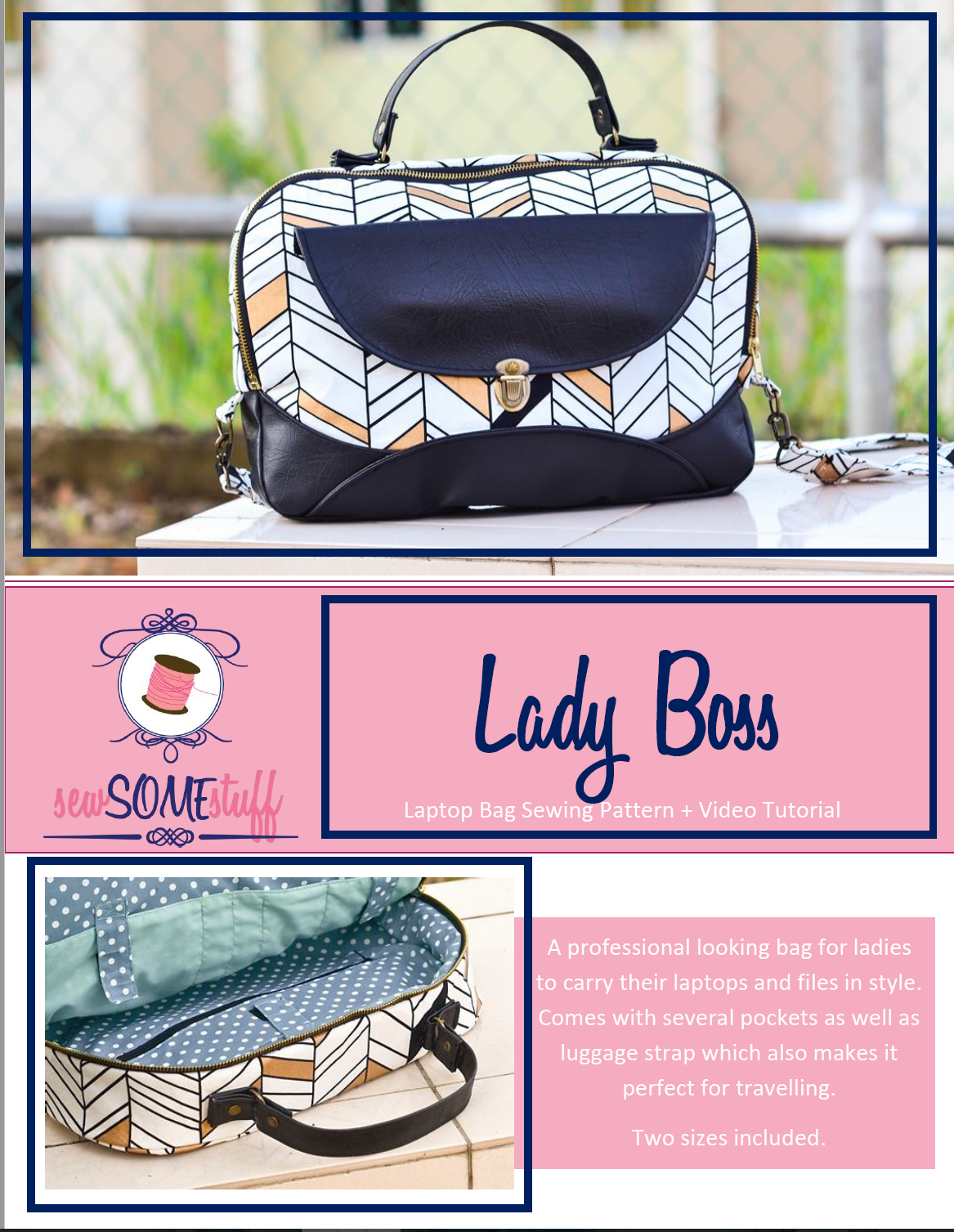 Lady Boss Laptop Bag Pattern For Today S Successful And Strong Woman Whether You Re A Work At Home Mom College Student Or Someone Who Works An