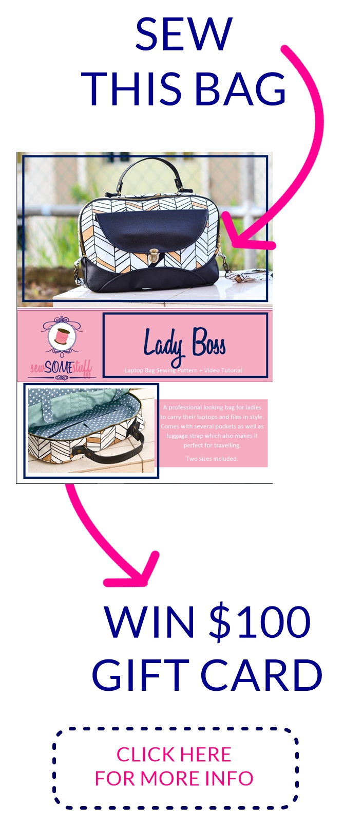 Sew lady boss laptop bag and win $100