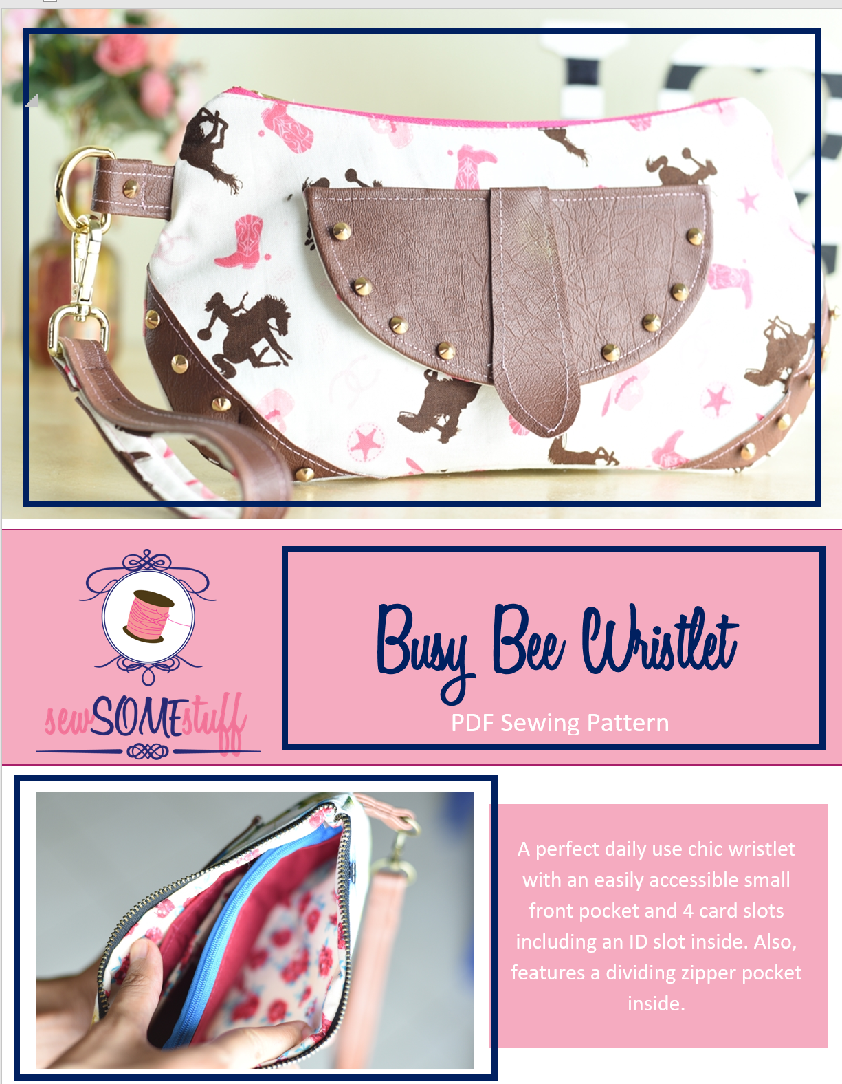 busy bee wristlet sewing pattern | bag sewing patterns | purse patterns | handbag patterns